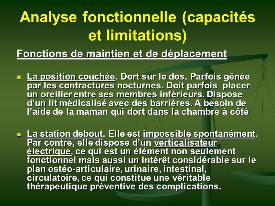 Analyse fonctionnelle (capacités et limitations) Fonctions de maintien et de déplacement La position couchée. Dort sur le dos. Parfois gênée par les c