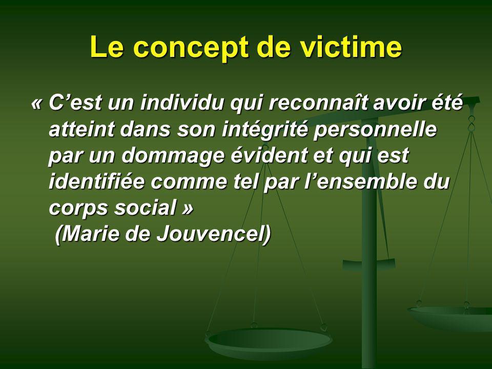 Le concept de victime « Cest un individu qui reconnaît avoir été atteint dans son intégrité personnelle par un dommage évident et qui est identifiée c