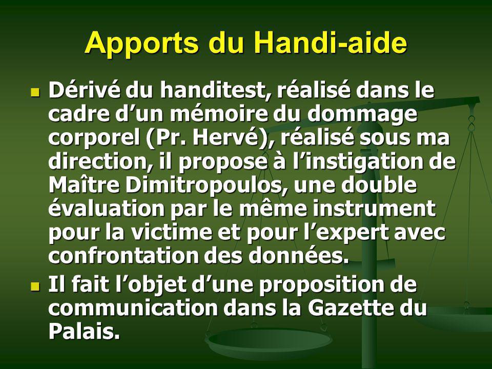 Apports du Handi-aide Dérivé du handitest, réalisé dans le cadre dun mémoire du dommage corporel (Pr. Hervé), réalisé sous ma direction, il propose à