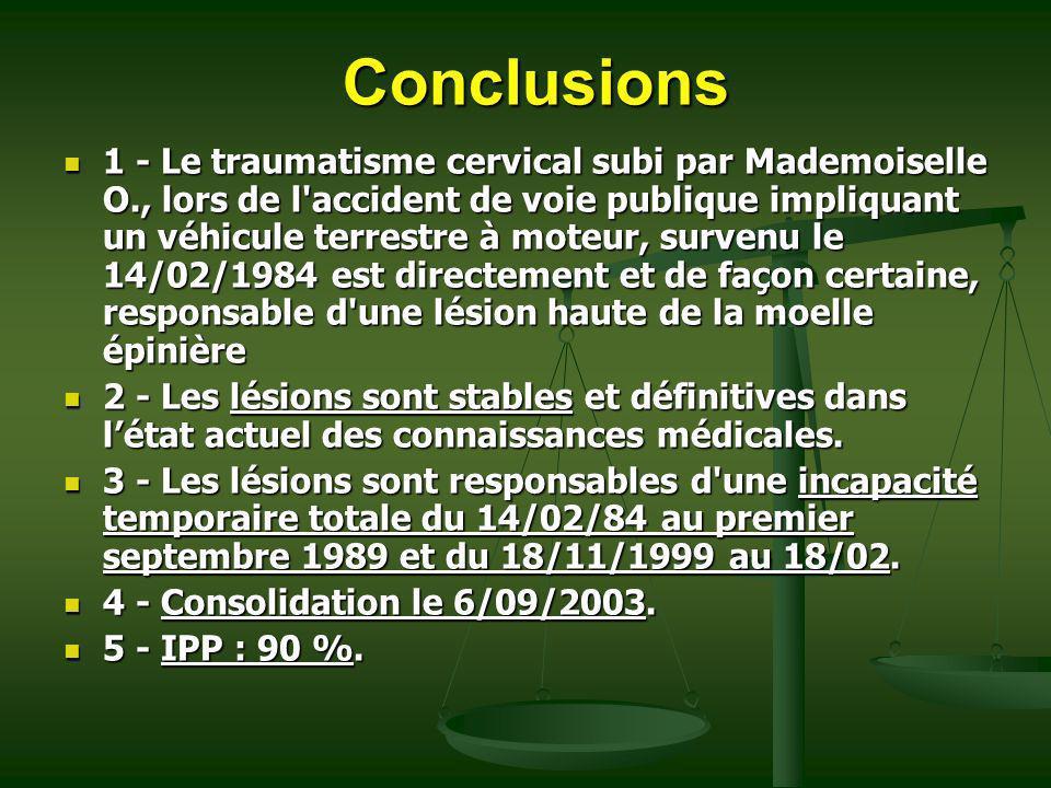 Conclusions 1 - Le traumatisme cervical subi par Mademoiselle O., lors de l'accident de voie publique impliquant un véhicule terrestre à moteur, surve