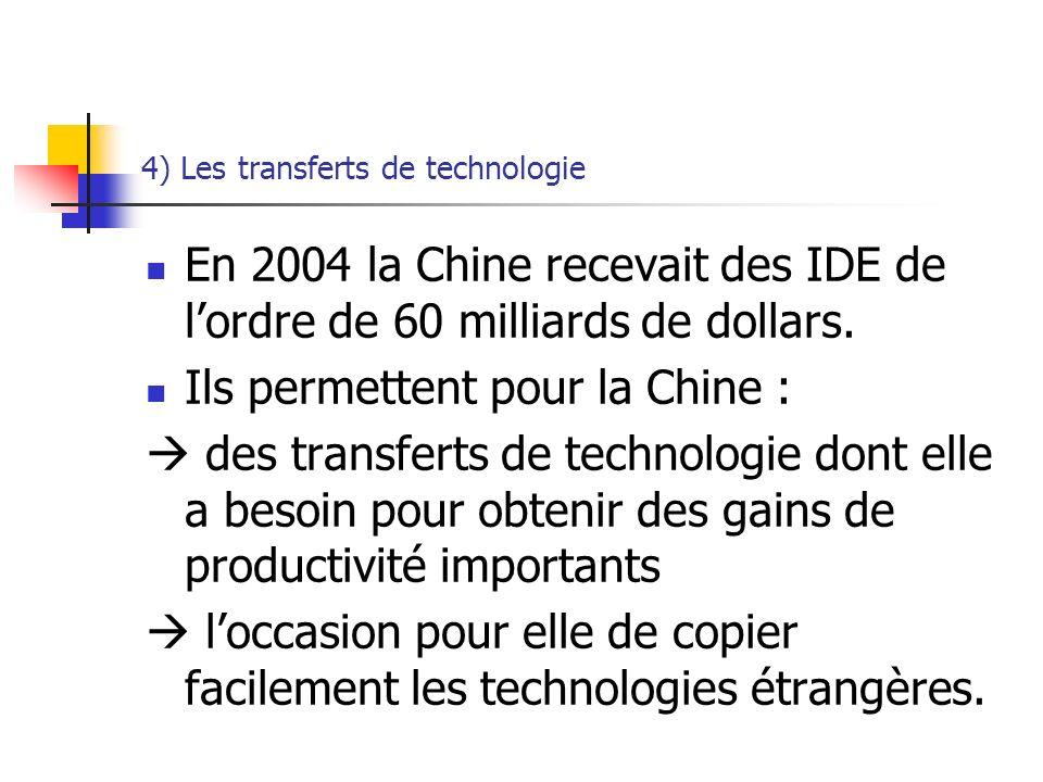 4) Les transferts de technologie En 2004 la Chine recevait des IDE de lordre de 60 milliards de dollars.