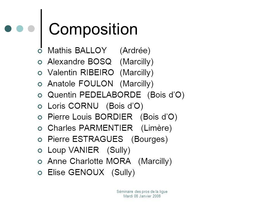 Séminaire des pros de la ligue Mardi 08 Janvier 2008 Composition Mathis BALLOY (Ardrée) Alexandre BOSQ (Marcilly) Valentin RIBEIRO (Marcilly) Anatole