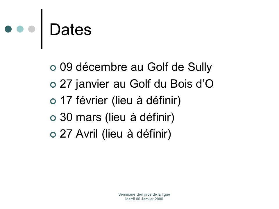 Séminaire des pros de la ligue Mardi 08 Janvier 2008 Dates 09 décembre au Golf de Sully 27 janvier au Golf du Bois dO 17 février (lieu à définir) 30 m