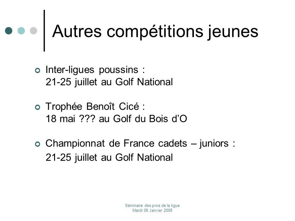 Séminaire des pros de la ligue Mardi 08 Janvier 2008 Autres compétitions jeunes Inter-ligues poussins : 21-25 juillet au Golf National Trophée Benoît