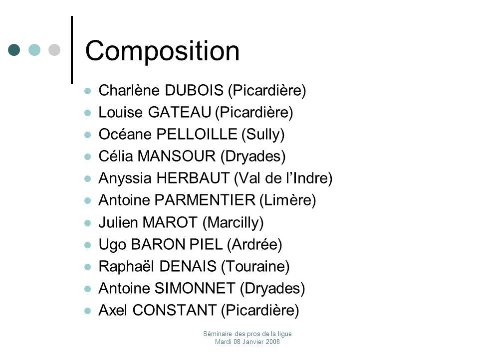 Séminaire des pros de la ligue Mardi 08 Janvier 2008 Composition Charlène DUBOIS (Picardière) Louise GATEAU (Picardière) Océane PELLOILLE (Sully) Céli
