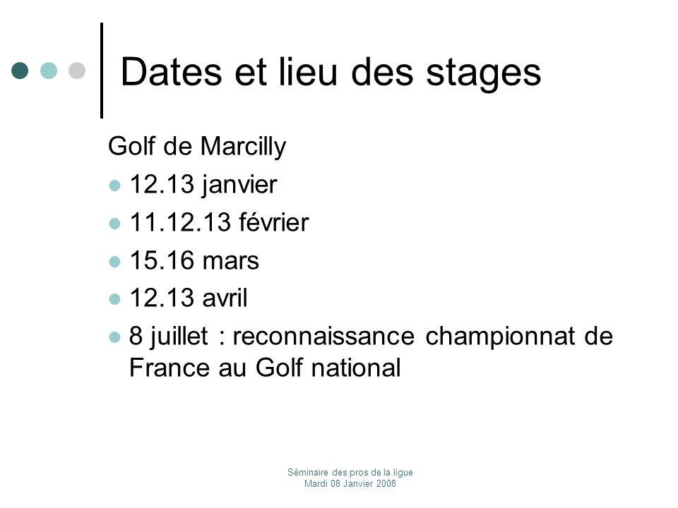 Séminaire des pros de la ligue Mardi 08 Janvier 2008 Dates et lieu des stages Golf de Marcilly 12.13 janvier 11.12.13 février 15.16 mars 12.13 avril 8