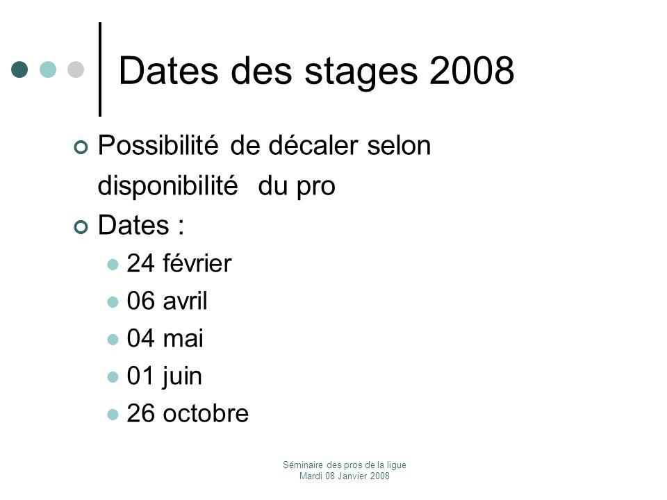 Séminaire des pros de la ligue Mardi 08 Janvier 2008 Dates des stages 2008 Possibilité de décaler selon disponibilité du pro Dates : 24 février 06 avr