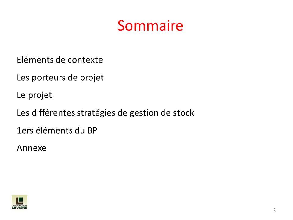 Sommaire 2 Eléments de contexte Les porteurs de projet Le projet Les différentes stratégies de gestion de stock 1ers éléments du BP Annexe