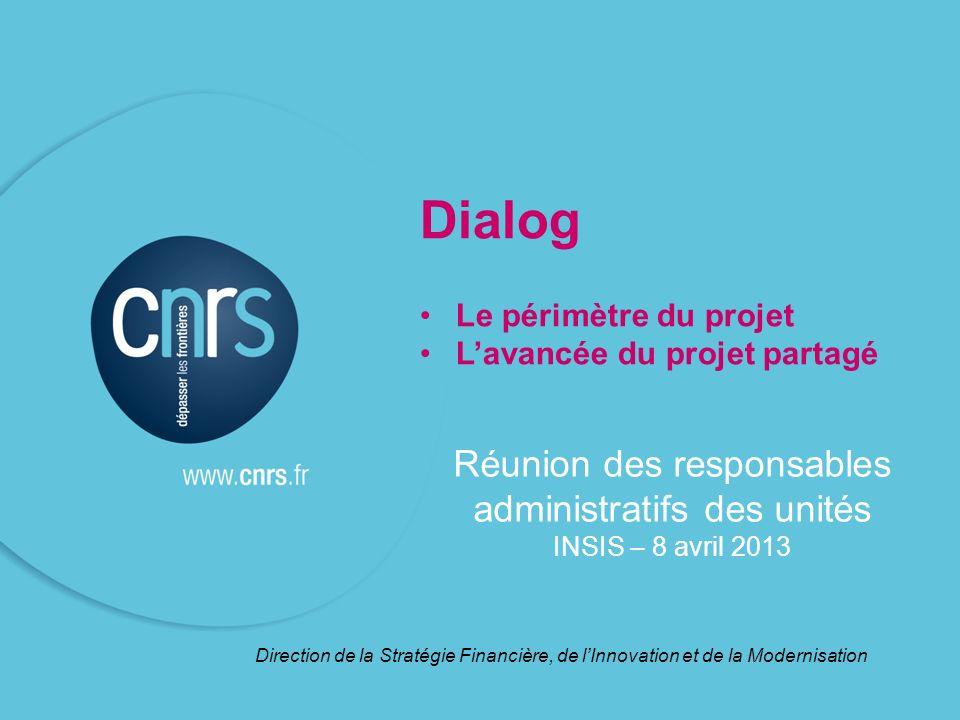 Dialog Le périmètre du projet Lavancée du projet partagé Direction de la Stratégie Financière, de lInnovation et de la Modernisation Réunion des respo