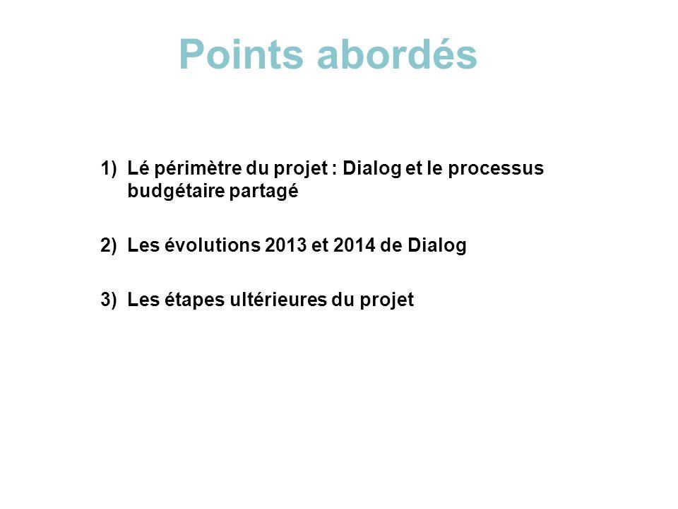 1)Lé périmètre du projet : Dialog et le processus budgétaire partagé 2)Les évolutions 2013 et 2014 de Dialog 3)Les étapes ultérieures du projet Points