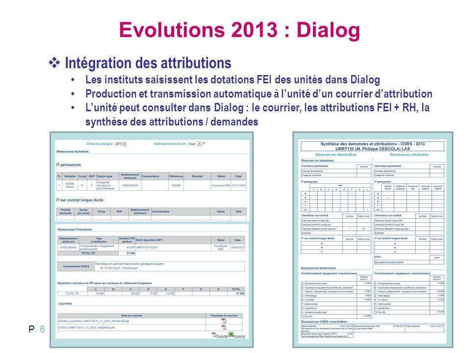P. 6 Evolutions 2013 : Dialog Intégration des attributions Les instituts saisissent les dotations FEI des unités dans Dialog Production et transmissio