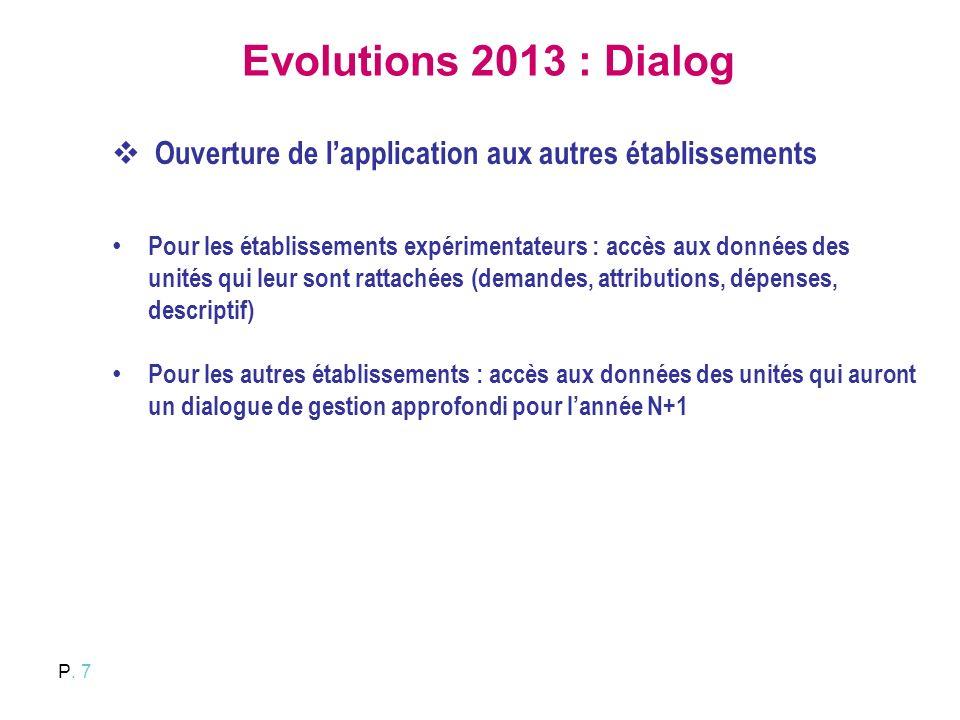 P. 7 Evolutions 2013 : Dialog Ouverture de lapplication aux autres établissements Pour les établissements expérimentateurs : accès aux données des uni