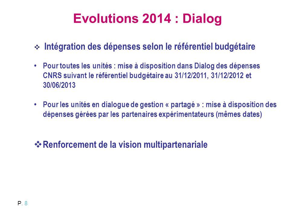 P. 8 Evolutions 2014 : Dialog Intégration des dépenses selon le référentiel budgétaire Pour toutes les unités : mise à disposition dans Dialog des dép