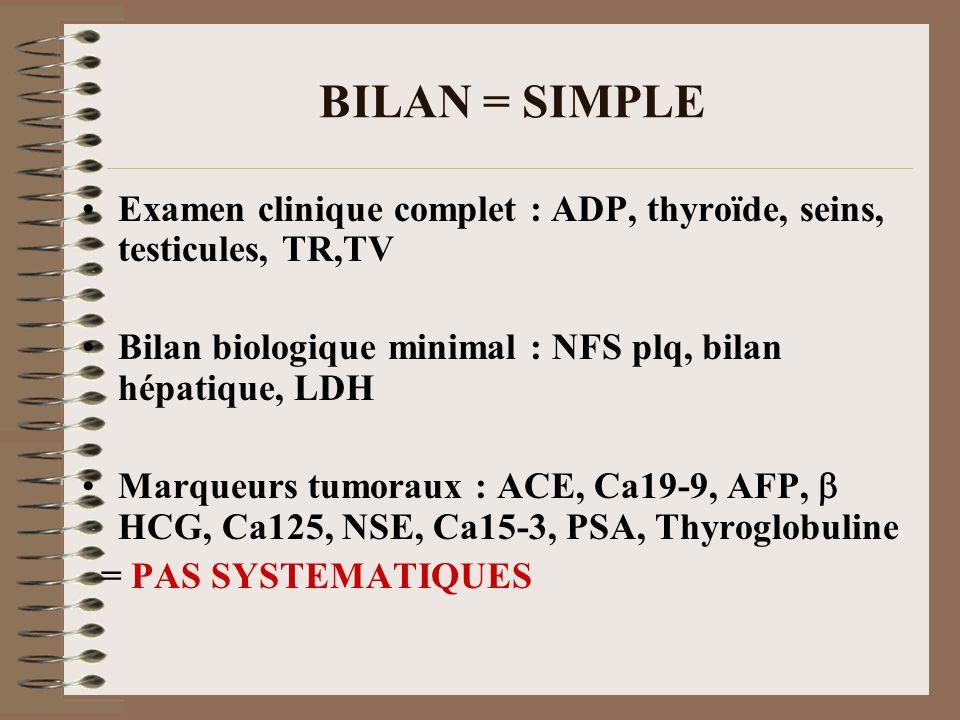 BILAN = SIMPLE Examen clinique complet : ADP, thyroïde, seins, testicules, TR,TV Bilan biologique minimal : NFS plq, bilan hépatique, LDH Marqueurs tu