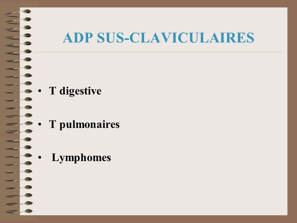 ADP SUS-CLAVICULAIRES T digestive T pulmonaires Lymphomes