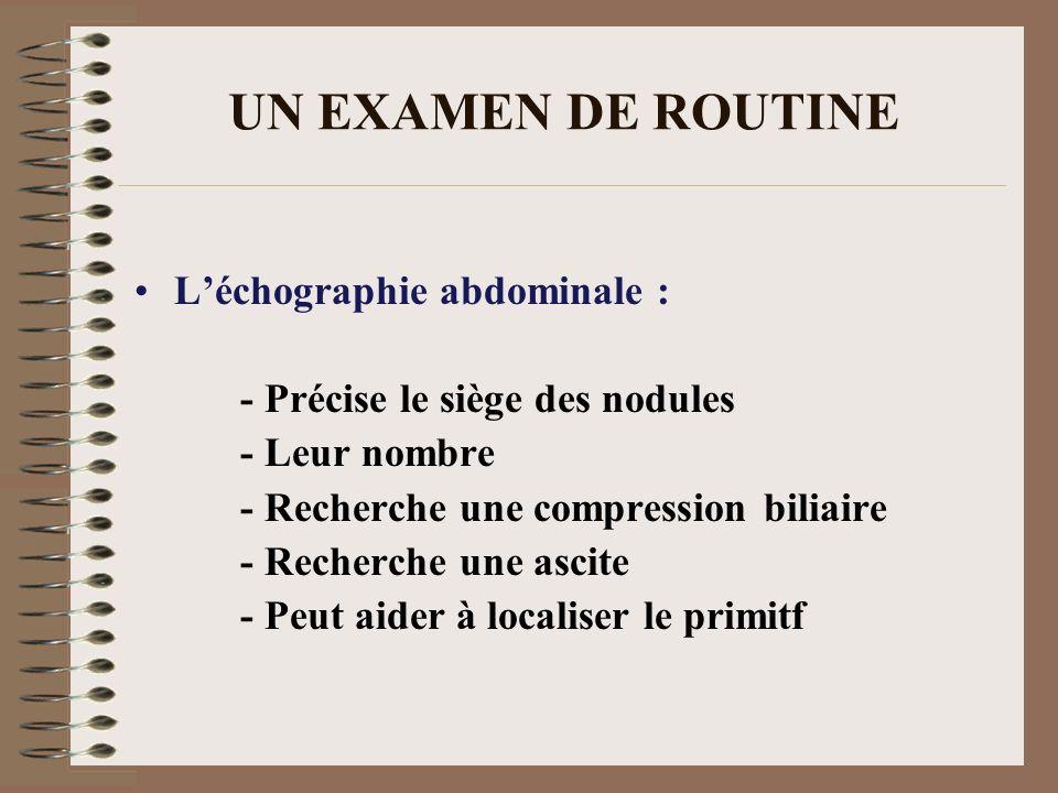 UN EXAMEN DE ROUTINE Léchographie abdominale : - Précise le siège des nodules - Leur nombre - Recherche une compression biliaire - Recherche une ascit