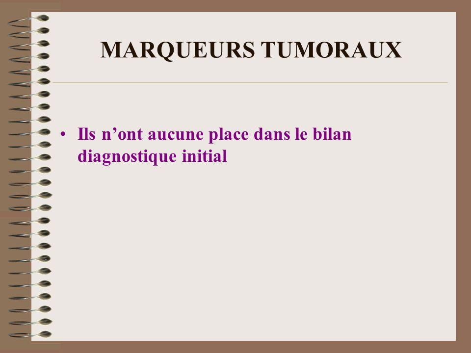 MARQUEURS TUMORAUX Ils nont aucune place dans le bilan diagnostique initial