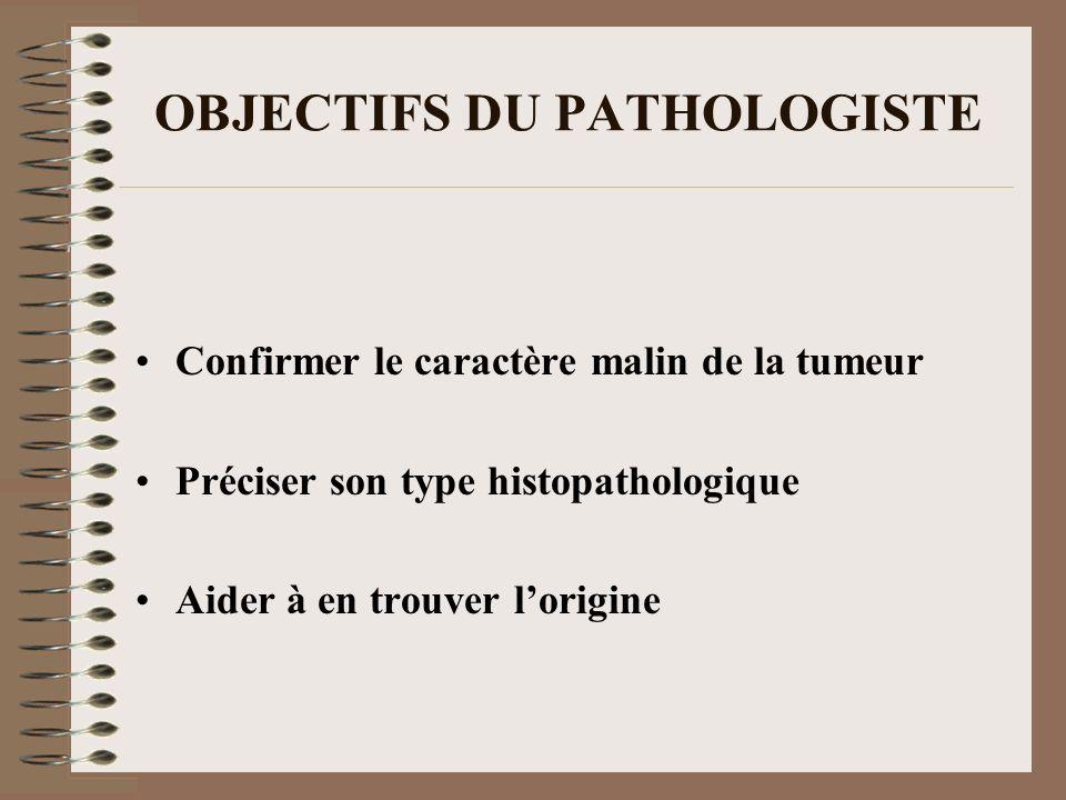 OBJECTIFS DU PATHOLOGISTE Confirmer le caractère malin de la tumeur Préciser son type histopathologique Aider à en trouver lorigine