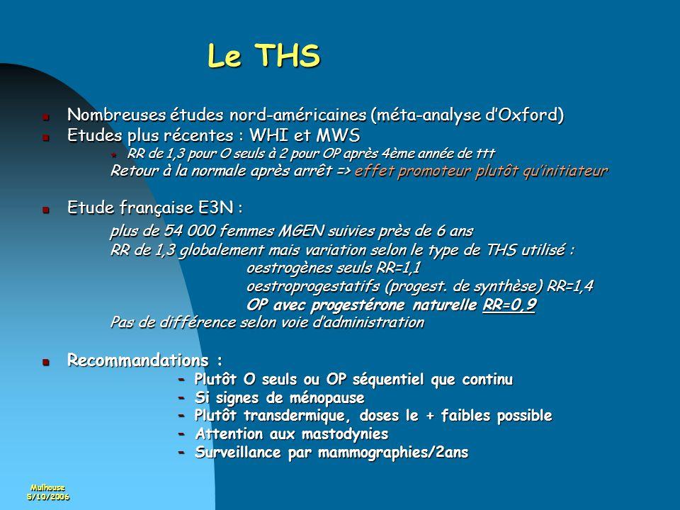Mulhouse5/10/2006 Le THS Nombreuses études nord-américaines (méta-analyse dOxford) Nombreuses études nord-américaines (méta-analyse dOxford) Etudes pl