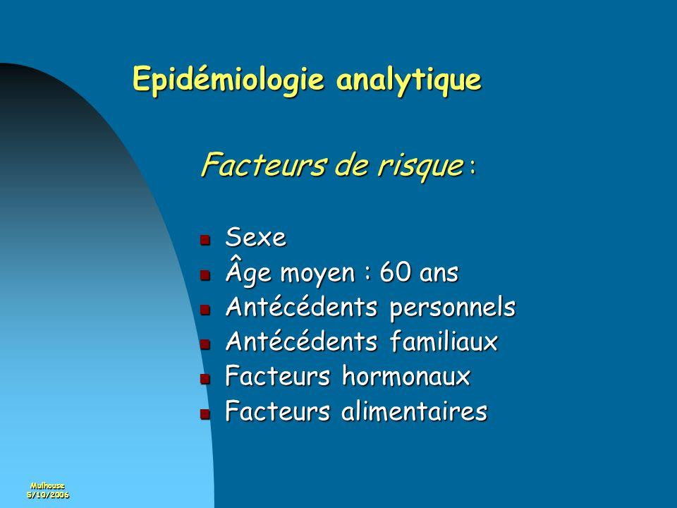 Mulhouse5/10/2006 Epidémiologie analytique Facteurs de risque : Sexe Sexe Âge moyen : 60 ans Âge moyen : 60 ans Antécédents personnels Antécédents per