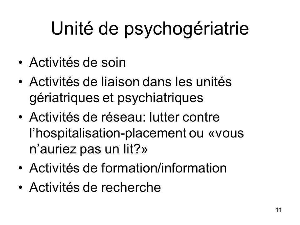11 Unité de psychogériatrie Activités de soin Activités de liaison dans les unités gériatriques et psychiatriques Activités de réseau: lutter contre l