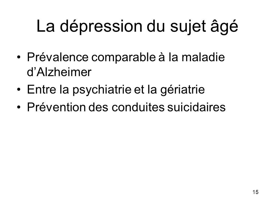 15 La dépression du sujet âgé Prévalence comparable à la maladie dAlzheimer Entre la psychiatrie et la gériatrie Prévention des conduites suicidaires