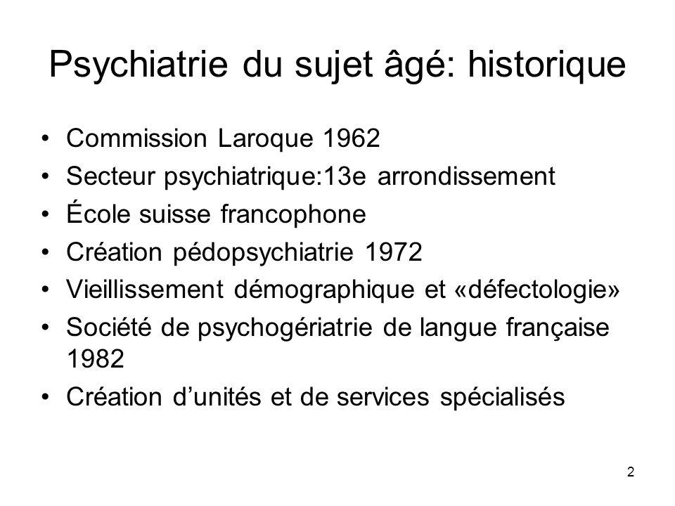 2 Psychiatrie du sujet âgé: historique Commission Laroque 1962 Secteur psychiatrique:13e arrondissement École suisse francophone Création pédopsychiat