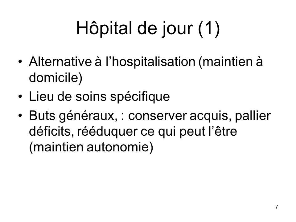 7 Hôpital de jour (1) Alternative à lhospitalisation (maintien à domicile) Lieu de soins spécifique Buts généraux, : conserver acquis, pallier déficit