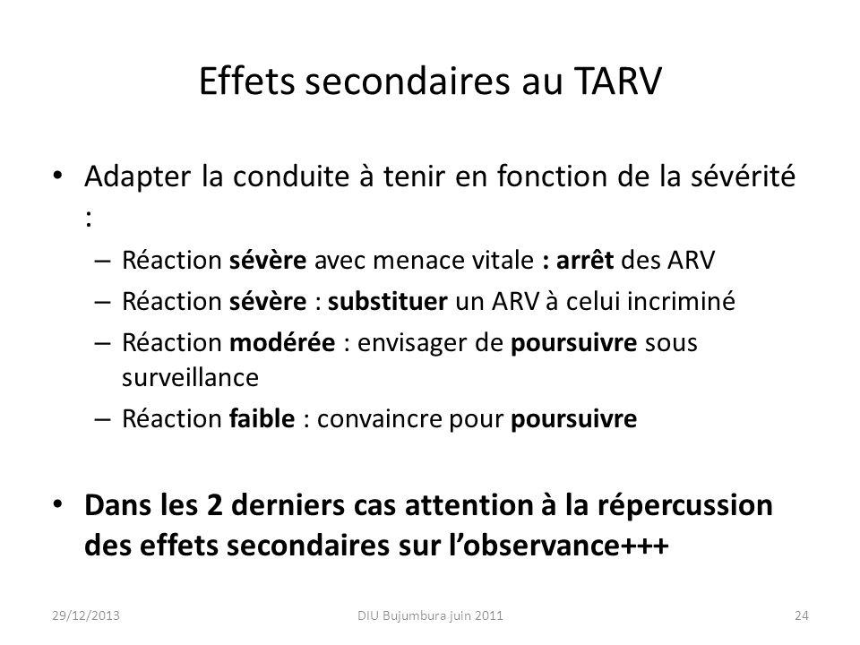 Effets secondaires au TARV Adapter la conduite à tenir en fonction de la sévérité : – Réaction sévère avec menace vitale : arrêt des ARV – Réaction sé