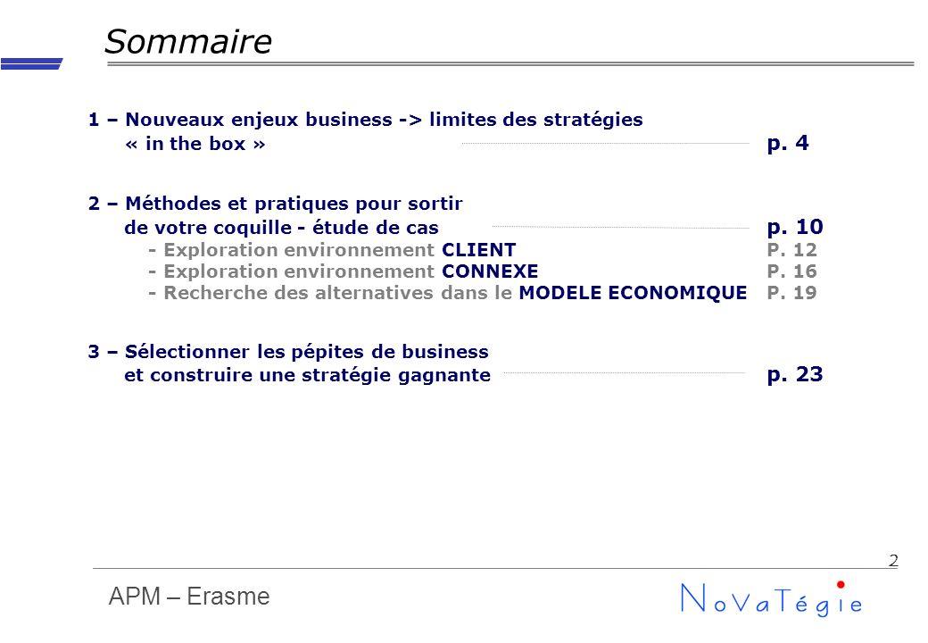 APM – Erasme 2 Sommaire 1 – Nouveaux enjeux business -> limites des stratégies « in the box » p. 4 2 – Méthodes et pratiques pour sortir de votre coqu