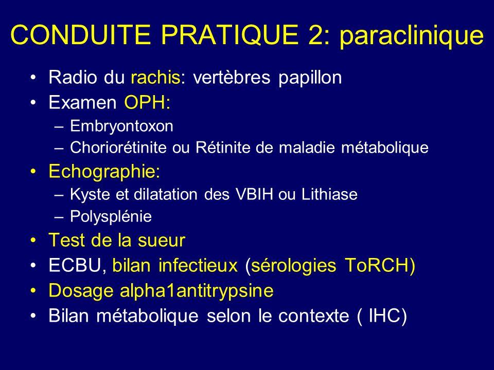 CONDUITE PRATIQUE 2: paraclinique Radio du rachis: vertèbres papillon Examen OPH: –Embryontoxon –Choriorétinite ou Rétinite de maladie métabolique Ech