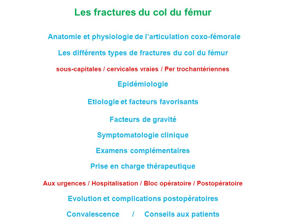 Symptomatologie clinique Douleurs de hanche en général intenses Ecchymose trochantérienne Raccourcissement de plusieurs centimètres Rotation externe du membre inférieur Impotence fonctionnelle totale