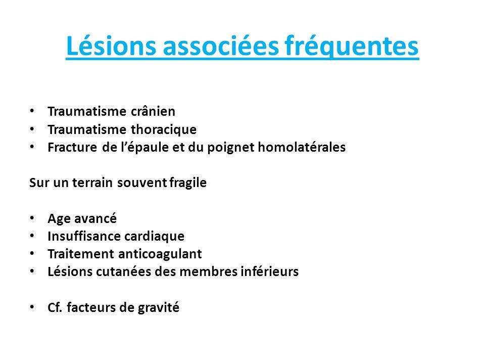 Lésions associées fréquentes Traumatisme crânien Traumatisme thoracique Fracture de lépaule et du poignet homolatérales Sur un terrain souvent fragile