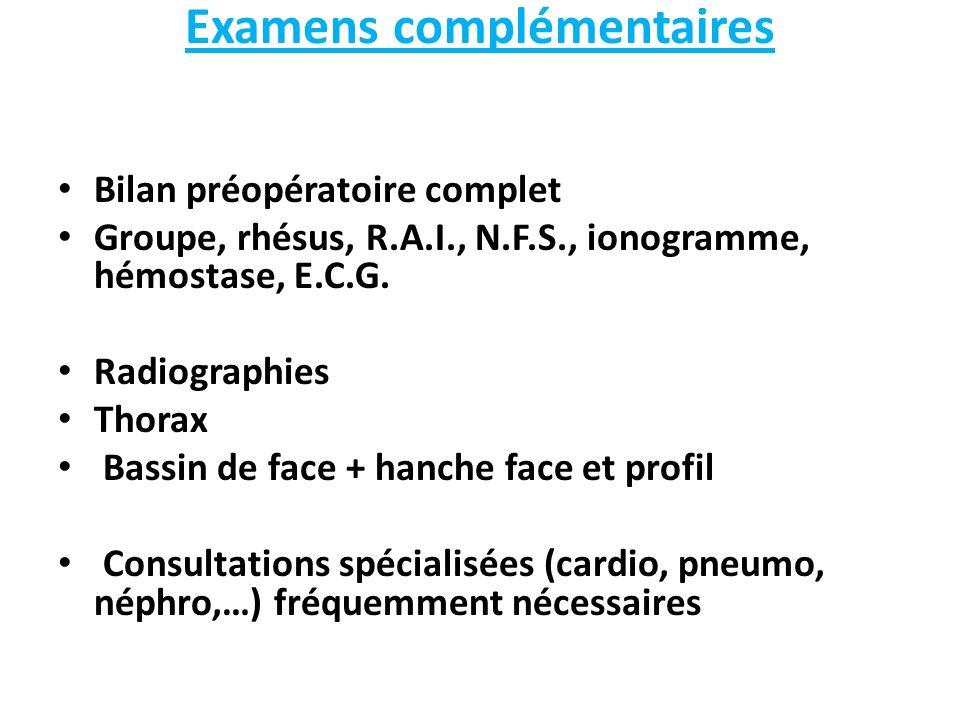 Examens complémentaires Bilan préopératoire complet Groupe, rhésus, R.A.I., N.F.S., ionogramme, hémostase, E.C.G. Radiographies Thorax Bassin de face