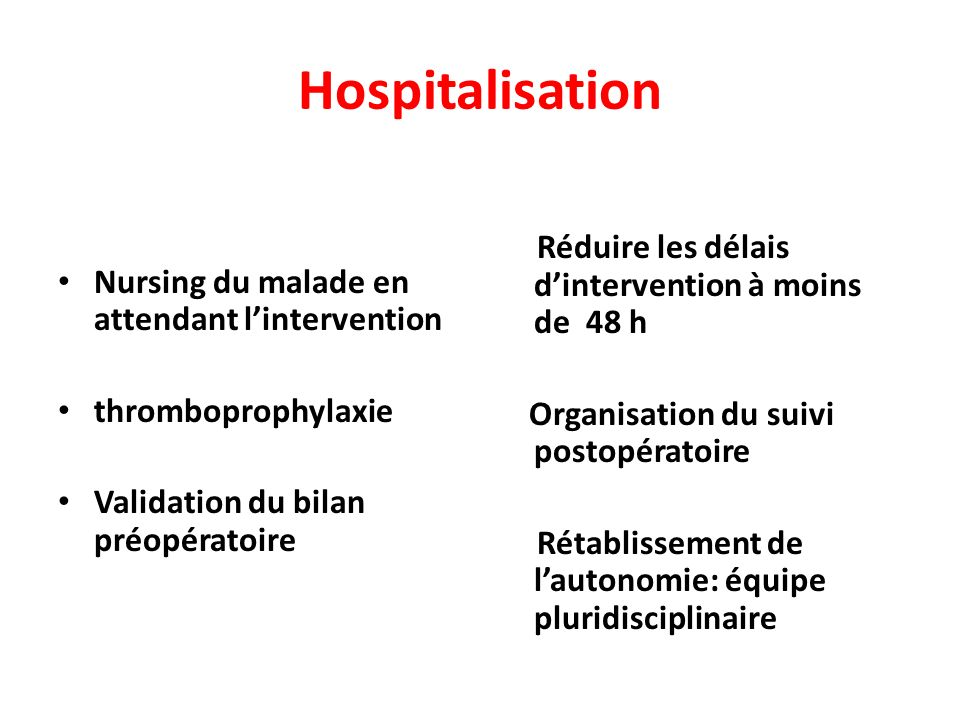 Hospitalisation Nursing du malade en attendant lintervention thromboprophylaxie Validation du bilan préopératoire Réduire les délais dintervention à moins de 48 h Organisation du suivi postopératoire Rétablissement de lautonomie: équipe pluridisciplinaire