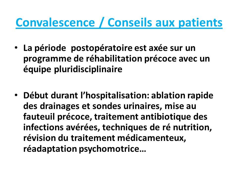 Convalescence / Conseils aux patients La période postopératoire est axée sur un programme de réhabilitation précoce avec un équipe pluridisciplinaire