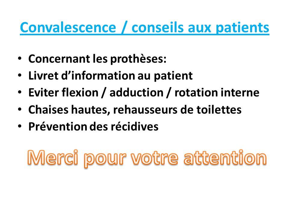 Convalescence / conseils aux patients Concernant les prothèses: Livret dinformation au patient Eviter flexion / adduction / rotation interne Chaises h