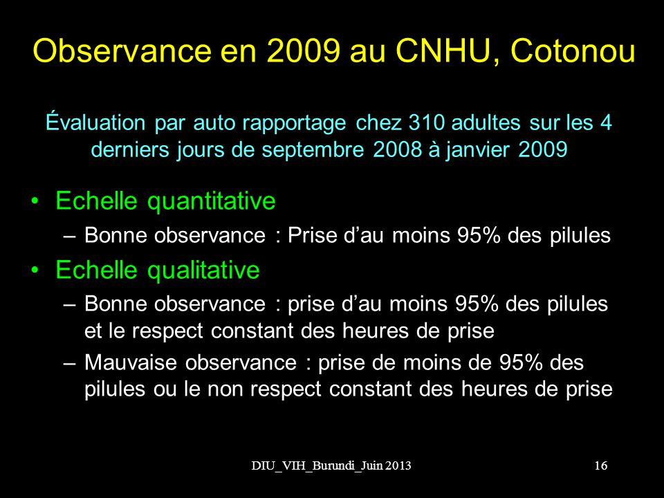 Observance en 2009 au CNHU, Cotonou Echelle quantitative –Bonne observance : Prise dau moins 95% des pilules Echelle qualitative –Bonne observance : p