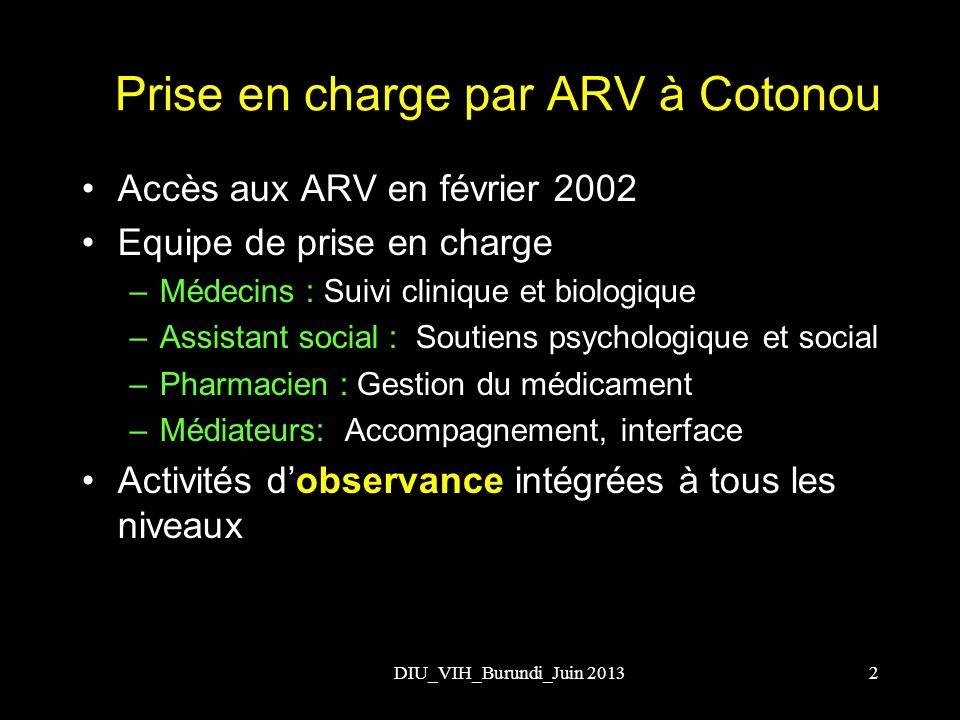 DIU_VIH_Burundi_Juin 20132 Prise en charge par ARV à Cotonou Accès aux ARV en février 2002 Equipe de prise en charge –Médecins : Suivi clinique et bio