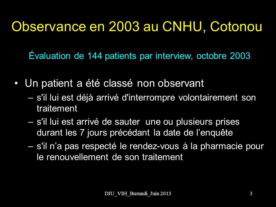DIU_VIH_Burundi_Juin 2013 Évaluation de 144 patients au CNHU, octobre 2003 Interruption volontaire du traitement 44,4% Saut de prise dans les 7j précédant 34,7% Non observance globale 53,5% Observance globale 46,4% Observance en 2003 au CNHU, Cotonou 4