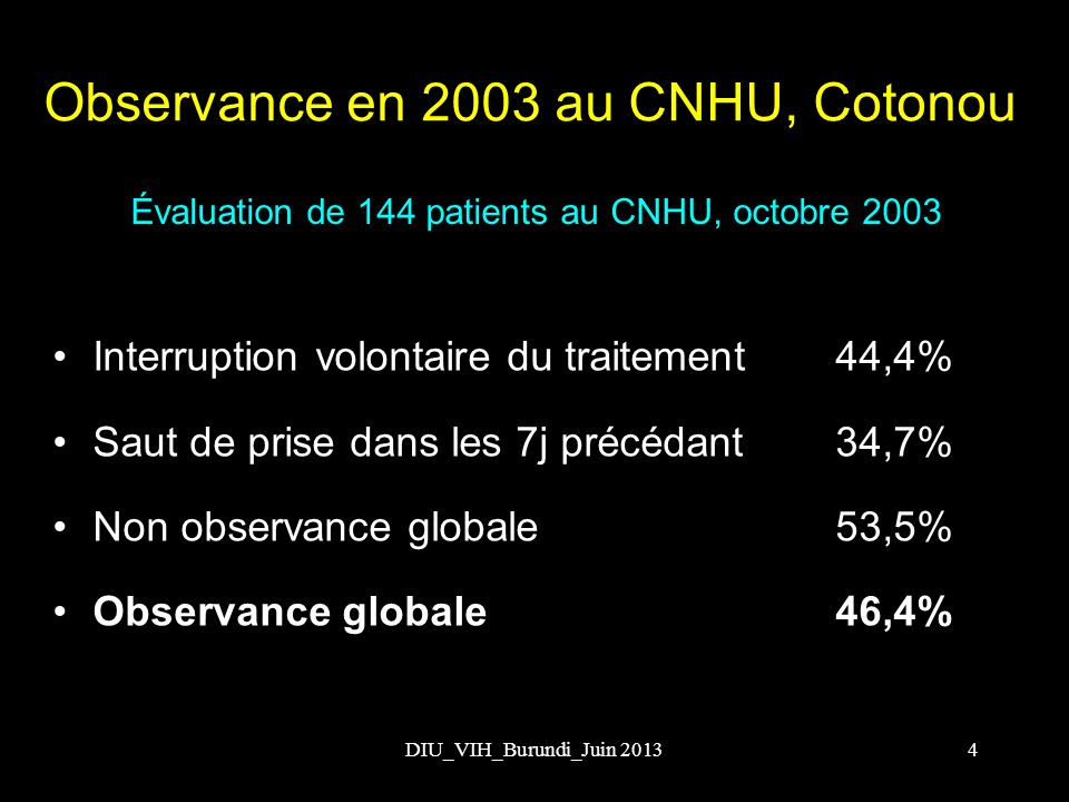 DIU_VIH_Burundi_Juin 2013 Évaluation de 144 patients au CNHU, octobre 2003 Interruption volontaire du traitement 44,4% Saut de prise dans les 7j précé
