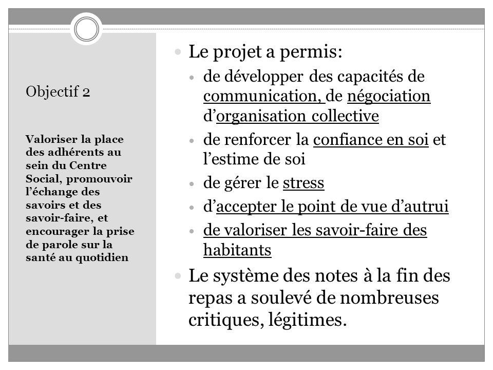 Objectif 2 Valoriser la place des adhérents au sein du Centre Social, promouvoir léchange des savoirs et des savoir-faire, et encourager la prise de p