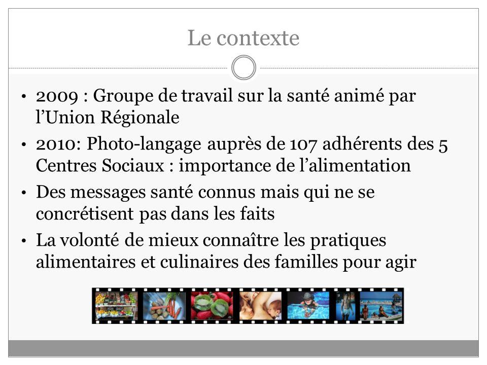 Le contexte 2009 : Groupe de travail sur la santé animé par lUnion Régionale 2010: Photo-langage auprès de 107 adhérents des 5 Centres Sociaux : impor