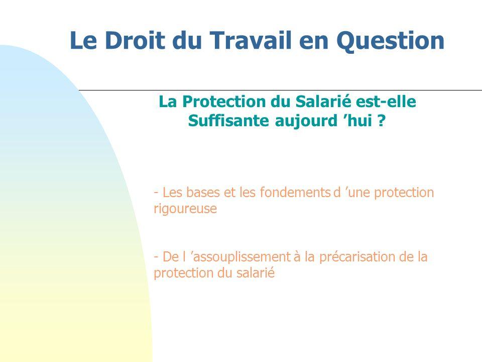 Le Droit du Travail en Question La Protection du Salarié est-elle Suffisante aujourd hui .