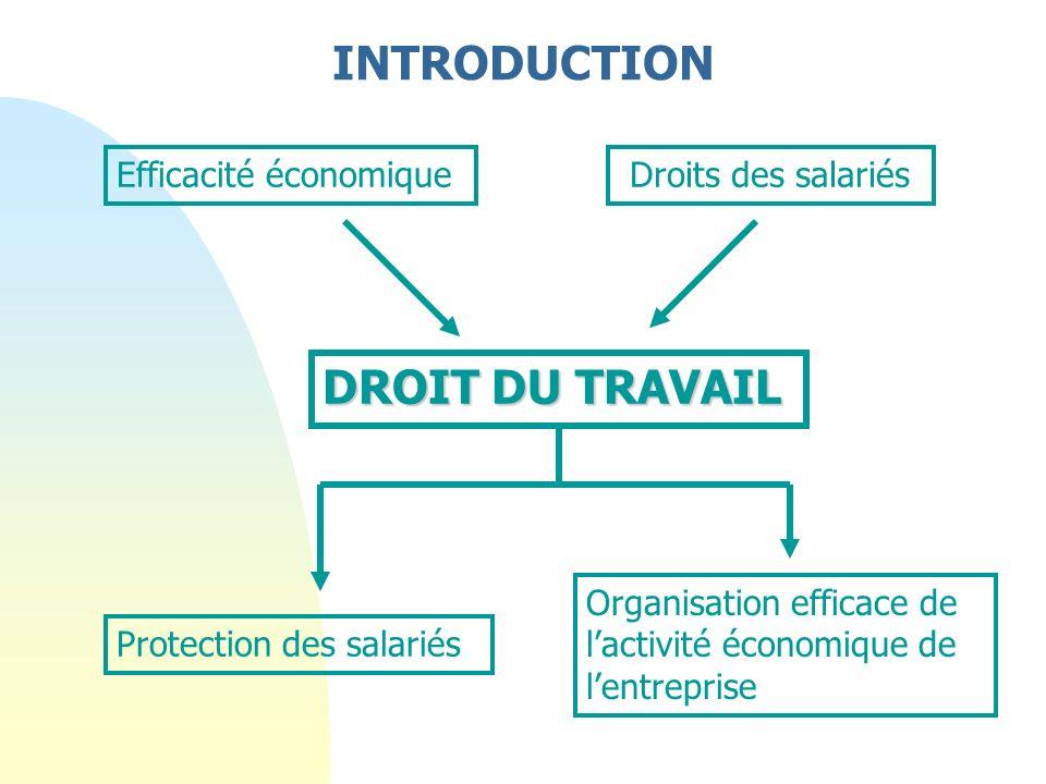 Efficacité économique Droits des salariés DROIT DU TRAVAIL Protection des salariés Organisation efficace de lactivité économique de lentreprise INTRODUCTION