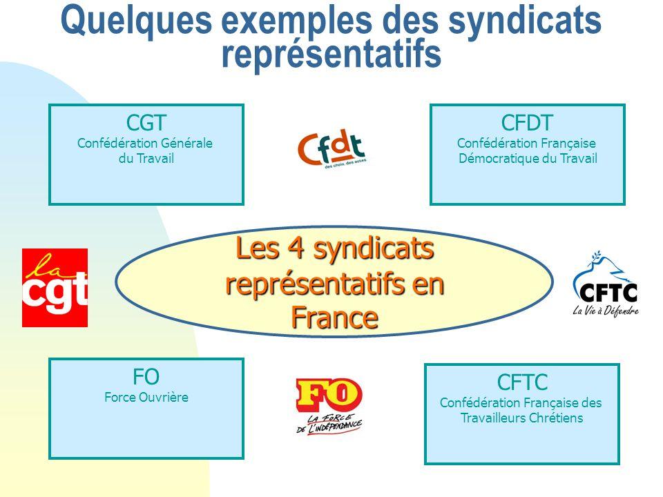 Quelques exemples des syndicats représentatifs Les 4 syndicats représentatifs en France CGT Confédération Générale du Travail CFDT Confédération Française Démocratique du Travail FO Force Ouvrière CFTC Confédération Française des Travailleurs Chrétiens