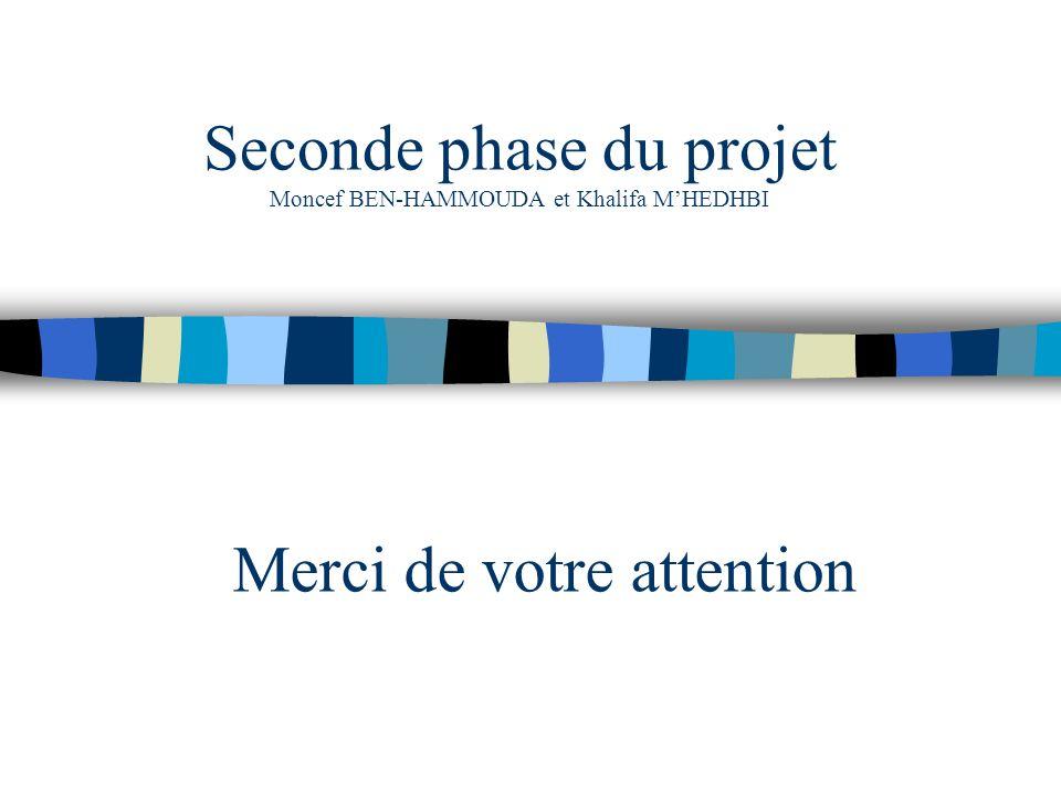 Seconde phase du projet Moncef BEN-HAMMOUDA et Khalifa MHEDHBI Merci de votre attention