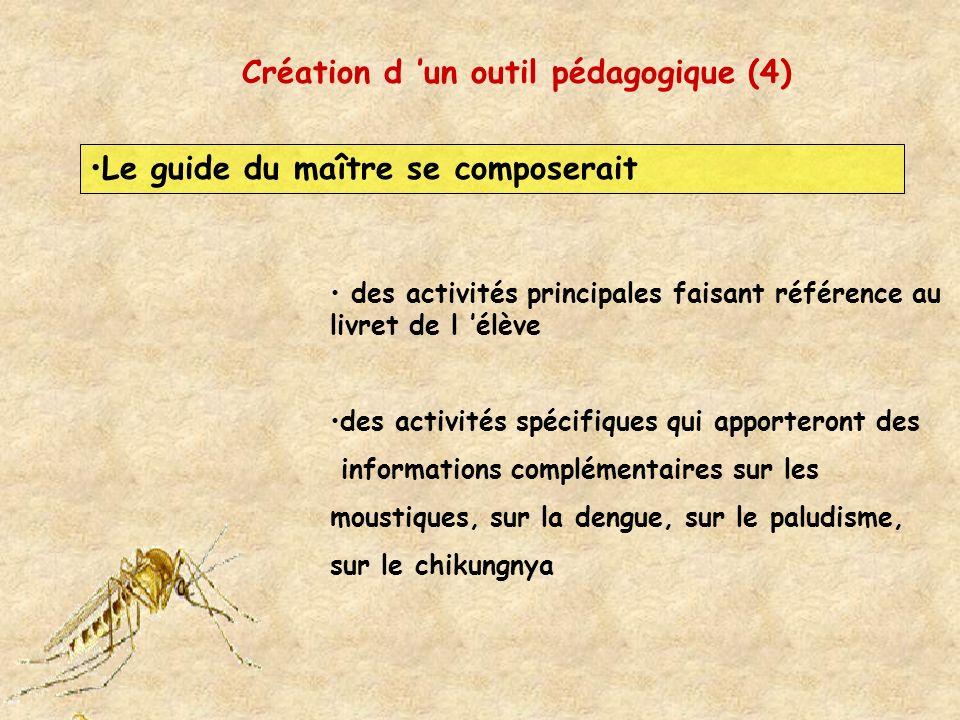 Création d un outil pédagogique (4) Le guide du maître se composerait des activités principales faisant référence au livret de l élève des activités s