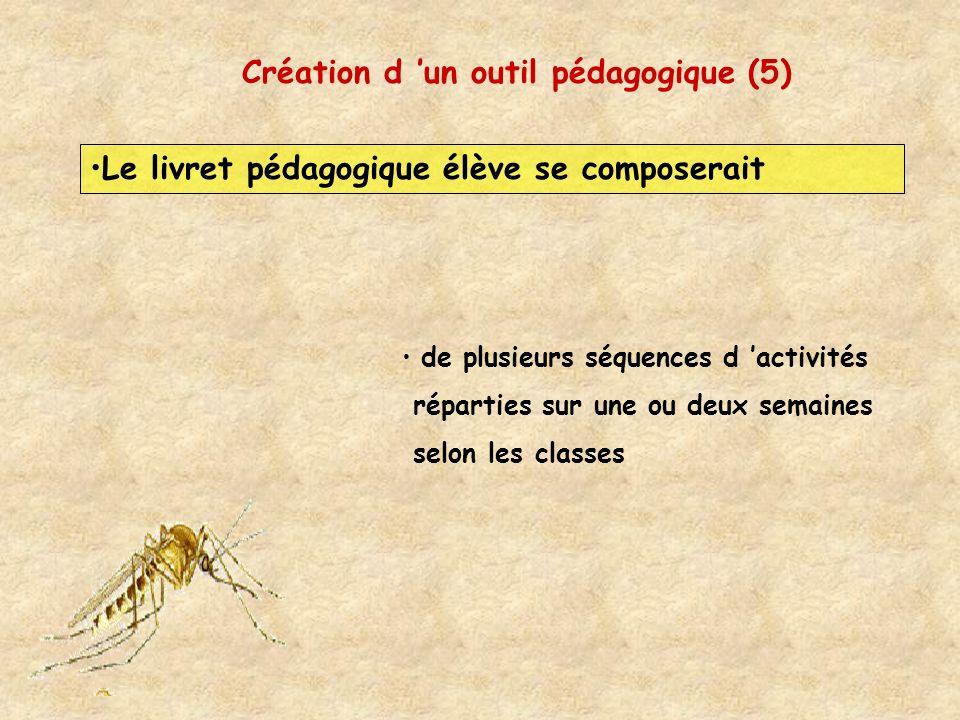 Création d un outil pédagogique (5) Le livret pédagogique élève se composerait de plusieurs séquences d activités réparties sur une ou deux semaines s