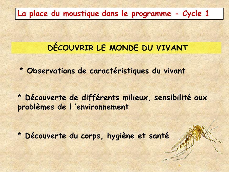 La place du moustique dans le programme - Cycle 1 DÉCOUVRIR LE MONDE DU VIVANT * Observations de caractéristiques du vivant * Découverte de différents
